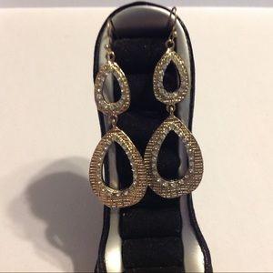Gold Tone Teardrop Style Earrings
